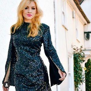 Elliat black sequin Dress.sz small. Like new